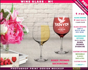 Wine Glass M-1 | Empty, White & Red Wine | Photoshop Print Mockup | Glasses on a Table with Peonies Roses | Smart object Custom colors