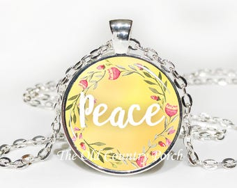 Peace-Glass Pendant Necklace/Graduation gift/mothers day/bridal gift/Easter gift/Gift for her/girlfriend gift/friend gift/birthday gift