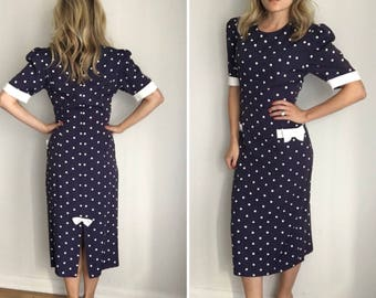 Vintage Wiggle Dress Polka Dot Bow Swing Dance 40s 50s Style Sz XS/S