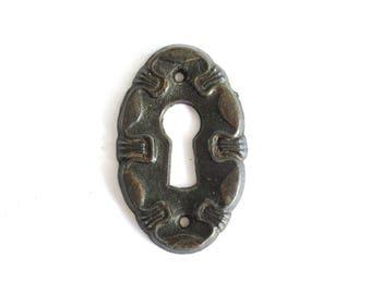 1 (ONE) Oval keyhole plate, Keyhole cover, escutcheon, key hole frame, Furniture Hardware. #6ADG39KF