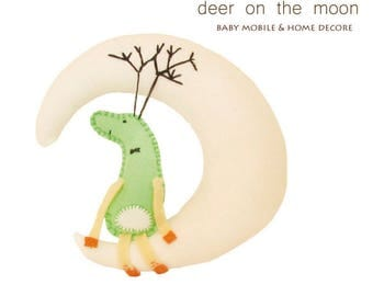Moon and Deer sewing pattern with instructions, PDF
