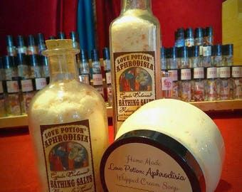 Love Potion: Aphrodesia- Bathing Salts, Bath and Body, Himalyan Pink Salt, B&B - Love Potion Magickal Perfumerie