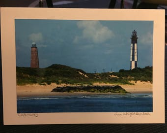 Cape Henry Lighthouses, VA photography Greeting Card