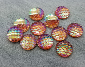 ab peach melon 12mm mermaid fish scales 8pc resin cabochons