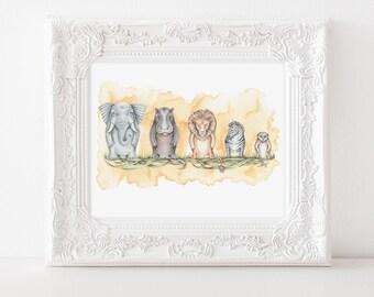 "African Savanna Art Print, Nursery Art Print, Savanna Art, Nursery, Elephant, Hippo, Lion, Zebra, Meerkat, Nesting Doll Illustration, 8""X10"""