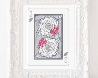 white rose illustration, painting the roses red, rose illustration, rose art, floral art, playing card art, pop surreal art, stroybook art