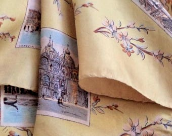 Retro 60s Venice Silk Souvenir Scarf Hand Printed Rolled Neutral Blue Landmark Shawl Large Vintage Scarf Venezia Italy Gift Square