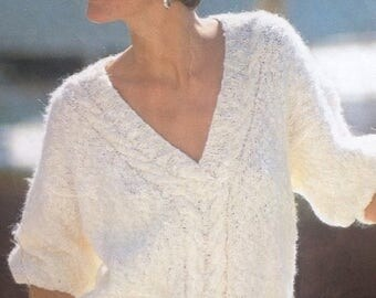 Knitting Pattern Ladies/Woman's V Neck Mohair Sweater/Jumper Cable size 34-40in