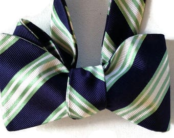 Silk Bow Tie  for Men - Scholastic - One-of-a-Kind, Handcrafted - Self-tie - Free Shipping