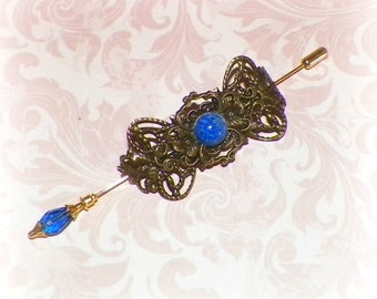 Shawl Pin Blue Gold Brooch Victorian Steampunk Vintage Style Scarf Pin Hair Slide Edwardian Filigree Antique Inspired Stick