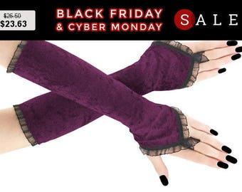 Extra purple long fingerless gloves, velvet arm warmers gothic burlesque vintage bohemian, womens evening gloves, goth wedding lolita 3R