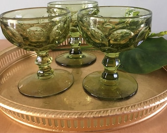 Sweet trio of vintage avocado green stemmed champagne glasses / coupes / parfait cups honeycomb pattern for tropical Old Florida bar cart!
