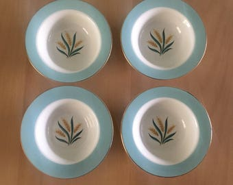 Darling set of 4 Midcentury Modern International DS Viking dessert bowls aqua & cream with wheat design / gold rim for Farmhouse table!