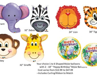 Jungle Animal Balloons, Zoo Animal Balloons Jungle Head Shapes