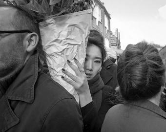 Black and White Print Photography, Street Photography London, Asian Woman, Wall art print, fine art photography, Japanese Woman, print
