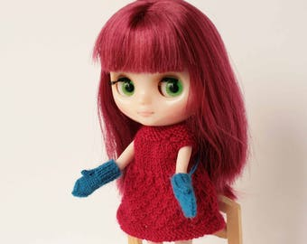 Doll clothes, Blue Middie blythe mittens, Blue Pukifee mittens, Blythe doll accessory, Winter knitwear for doll, Blythe outfit, Mini mittens