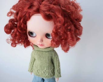 Blythe doll sweater, Green Blythe clothes, Licca doll outfit, Blythe knitwear, Warm knitted pullover, Spring doll jumper, Summer luxury doll