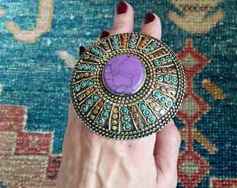 "3"" GIANT Two-Finger Ethnic Ring Boho Jewelry LAVENDER Center Size 7.5 & 8"