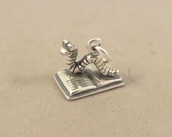 BOOK WORM .925 Sterling Silver 3-D  CHARM Pendant Reading Hobby School HB28
