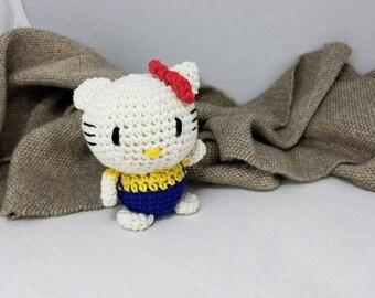 FREE SHIPPING! Tiny Little Crocheted Kitten!  Amigurumi Doll