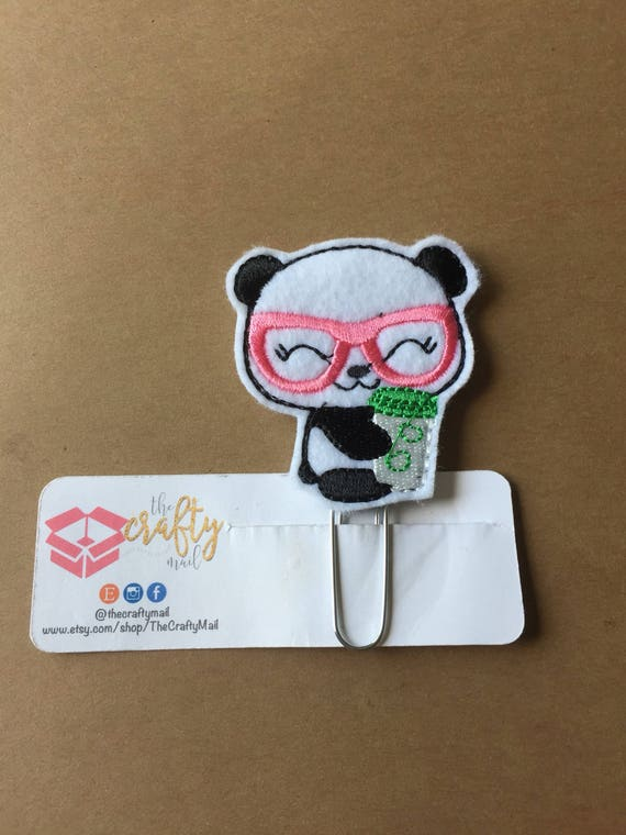 Panda With Coffee Clip/Planner Clip/Bookmark. Panda planner clip. Coffee planner clip