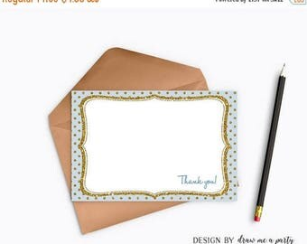 Clearance Sale Blue and Gold Thank You Notes , Blue and Gold Thank You Card , Royal Prince Birthday Party , Baby Shower , Printable