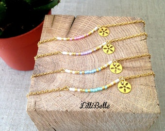 Bracelet beads Miyuki - pastel to choose color: pink, blue, mint or purple - fine jewelry, minimalist, gold, gold, steel and gold-plated