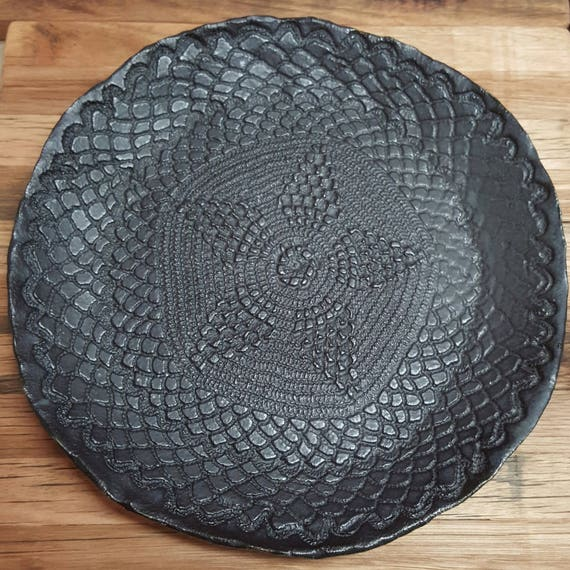 Hand Built Textured Ceramic Dinner Plate - Black Satin Glaze - Melbourne made - rustic - Australian Made - gifts for sister - gifts for her