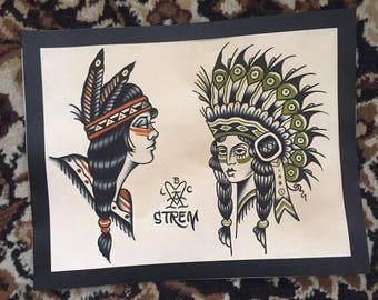 Native Women Original Tattoo Flash Watercolor Painting Cole Strem