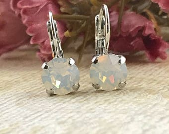 Swarovski earrings, Swarovski White Opal Crystal chaton earrings, 8mm, Drop Earrings, Lever back Crystals, Opal Earrings