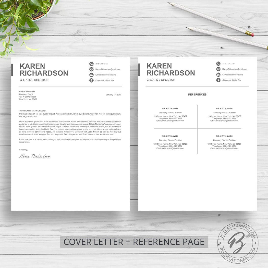 Modern Resume Template for Word | Clean Resume Design | Two Page ...