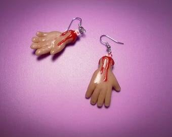 HALLOWEEN - Cut Off hands (earrings+necklace)