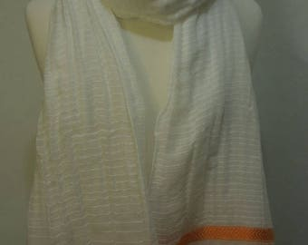SUMMER BLOWOUT SALE!...Ethiopian 100% Handwoven Sheer White Cotton Shawl with Triple Orange and Cream Stripes