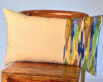 Designer Lumbar Pillow, Iman Ikat Print Pillow Cover, Blue Pillow Cover, Modern Pillow Cover, Throw Pillow Cover, Velvet Pillow Cover