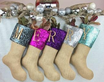 Burlap Christmas Stockings, Christmas Stockings, Burlap Stockings, Family Stockings, Burlap Stocking, Sequin Stocking, Burlap