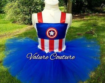 12 mo 18 mo 24 mo Captain America Inspired Tutu Dress Super Hero