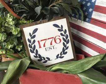 Rustic EST. 1776 patriotic americana sign, Perfect for summer home decor, Fourth of July, Labor Day decor