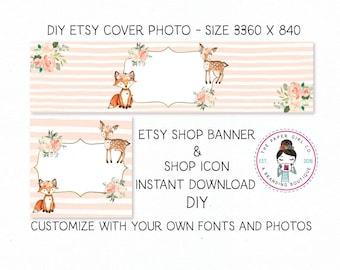 DIY etsy cover set etsy shop set premade DIY etsy set DIY etsy branding set fox etsy set deer etsy set woodland etsy set Instant Download