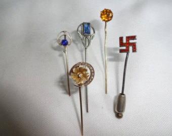 Stick Pin Vintage - Victorian 5 Pieces Gold - Sliver - Etc
