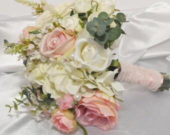 Pink & Ivory Garden Bridal Bouquet