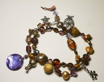 Bohemian bracelet with charms, two rows