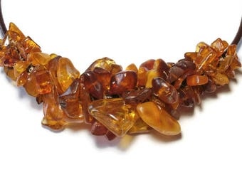 big necklace rustic nuggets of amber