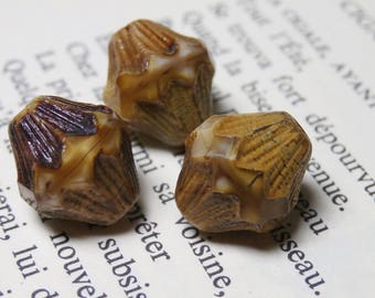 4 large bicones Baroque Czech glass beads, caramel BN3 13X11mm