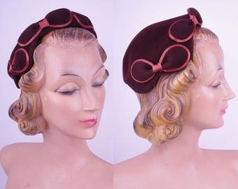 Vtg Classy Brown Bowed Felt Day Hat // Vintage Hat with Bows