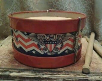 Vintage Toy Tin Drum Patriotic Decor