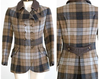 Double breasted brown and gray plaid riding jacket style coat with leather collar