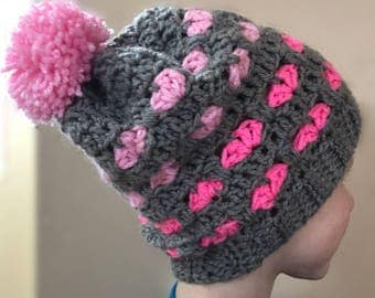 Gray and Pink Heart Slouchy Winter Hat - FREE SHIPPING - 1 to 3 year old