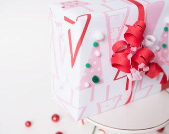 Pastel Christmas, Wrapping Sheets, Pink Holiday Decor, Gift Wrap, Christmas Wrap, Pom Pom Paper, Cute Christmas, Gift for Teen, For Her