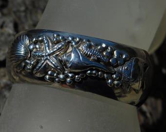 Carol Felley sealife sterling silver cuff bracelet, huge dimensional rare, 1993 bracelet.  Southwest sea lover.