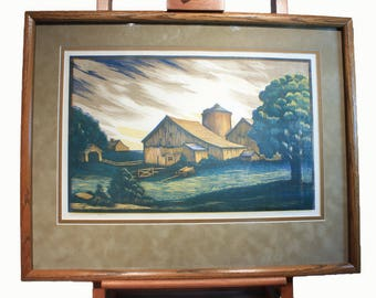Signed Numbered Channing S Smith Color Block Print, John Browns Barn, Home Decor, Wall Art, Wall Decor, Country Chic